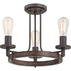 Afton Bronze Three-Light Semi Flush Mount