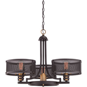 River Station Bronze Three-Light Chandelier