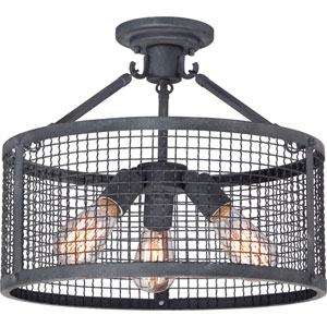 River Station Black Three-Light Semi Flush Mount