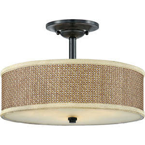 Loring Black Three-Light Semi Flush Mount