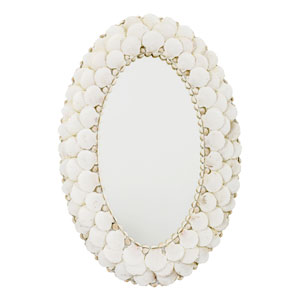 Whittier White Shell Oval Mirror