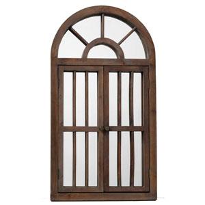 Hayden Antique Brown Wood Arch Mirror