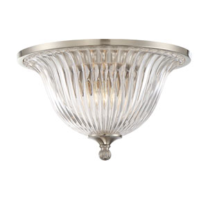 Evelyn Satin Nickel Two-Light Flush Mount