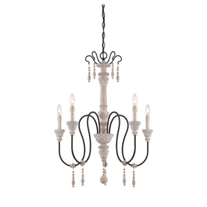 Grace Wood Five-Light Chandelier