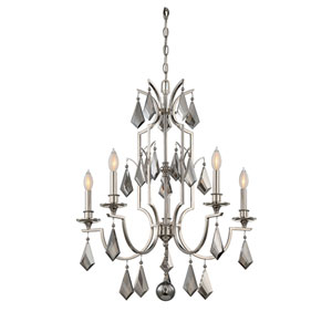 Vivian Polished Nickel Five-Light Chandelier