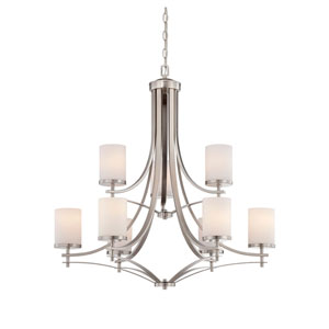 Nicollet Nickel and Pewter Nine-Light Chandelier