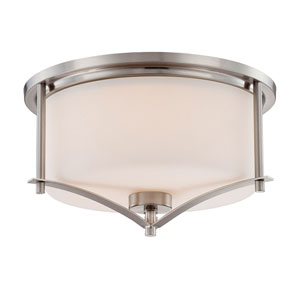 Nicollet Nickel and Pewter Two-Light Flush Mount