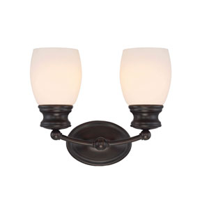 Evelyn Bronze 12-Inch Two-Light Bath Sconce