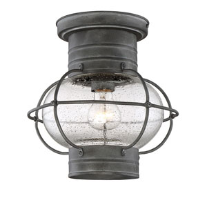 River Station Oxidized Black One-Light Flush Mount