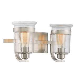 Afton Satin Nickel Two-Light Bath Sconce