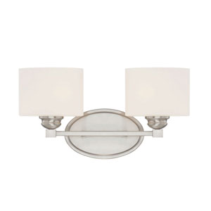 Evelyn Satin Nickel Two-Light Bath Sconce
