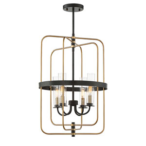 Whittier Vintage Black Four-Light Pendant