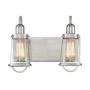 Afton Satin and Polished Nickel Two-Light Bath Vanity
