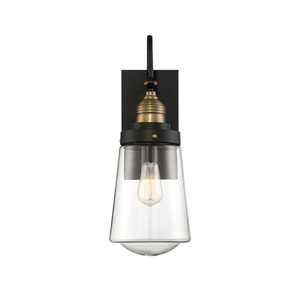 Afton Vintage Black with Warm Brass 14-Inch One-Light Outdoor Wall Sconce