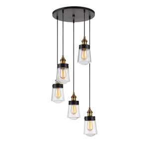 Afton Vintage Black with Warm Brass Five-Light Pendant