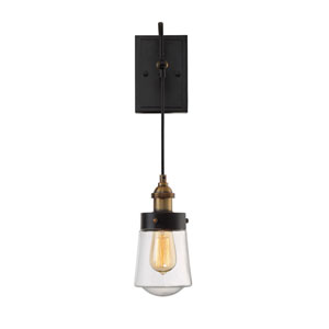 Afton Vintage Black with Warm Brass One-Light Wall Sconce