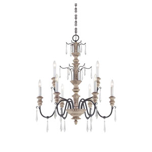 Grace Distressed White Wood and Iron Nine-Light Chandelier
