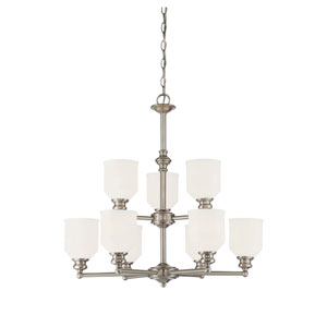 Evelyn Satin Nickel 26-Inch Nine-Light Chandelier