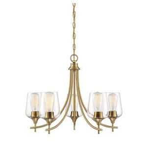 Selby Warm Brass Five-Light Chandelier