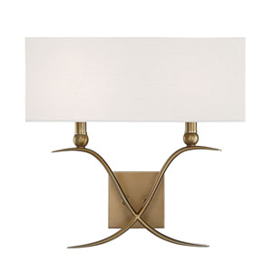 Linden Warm Brass Two-Light Wall Sconce