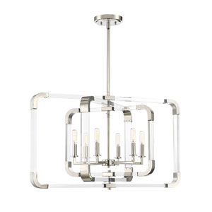 Uptown Polished Nickel 25-Inch Six-Light Chandelier