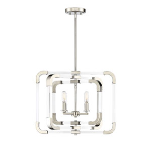 Uptown Polished Nickel Four-Light Convertible Pendant