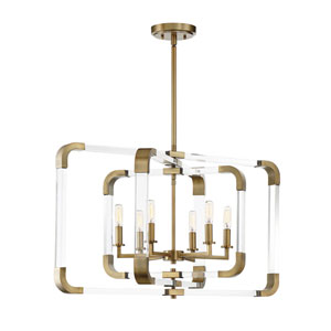 Uptown Warm Brass 25-Inch Six-Light Chandelier