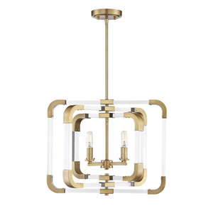 Uptown Warm Brass Four-Light Convertible Pendant
