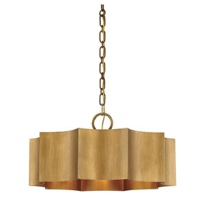 Whittier Gold Patina Three-Light Pendant