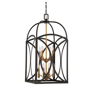 Whittier Bronze and Warm Brass Eight-Light Chandelier
