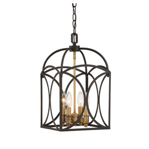 Whittier Bronze and Warm Brass 10-Inch Four-Light Chandelier