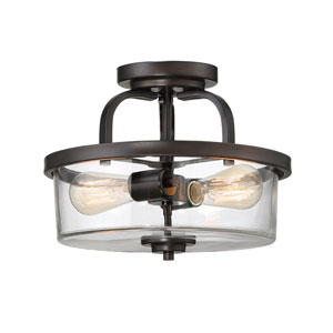 Afton Bronze Two-Light Semi Flush Mount