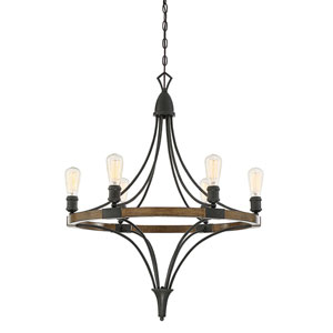Fulton Wood and Black Six-Light Chandelier