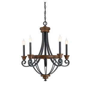 Wellington Wood and Black Five-Light Chandelier