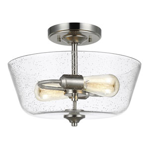 Selby Brushed Nickel Two-Light Semi Flush Mount