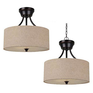 Selby Black with Bronze Accents Two-Light Convertible Pendant