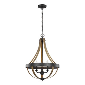 Afton Weathered Black with Wood Three-Light LED Chandelier