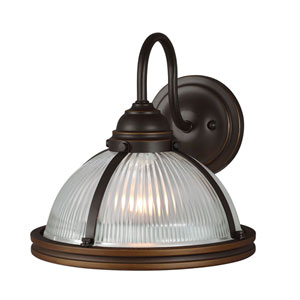 Afton Bronze One-Light Wall Sconce with Glass