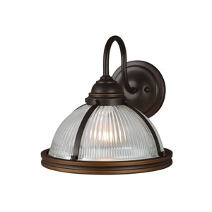 Afton Bronze LED Energy Star Bath Sconce with Glass