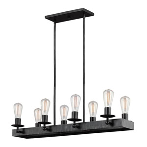 River Station Weathered Black with Wood Eight-Light Island Pendant