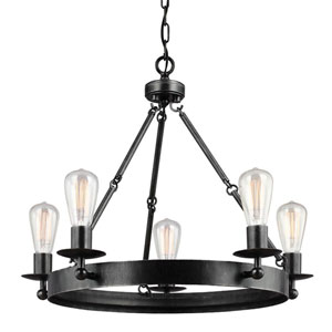 River Station Weathered Black with Wood Five-Light Chandelier