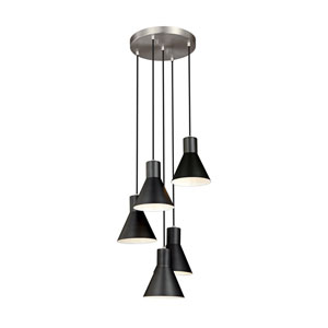 Loring Brushed Nickel Five-Light Pendant