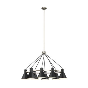 Loring Brushed Nickel Eight-Light LED Chandelier
