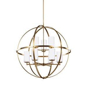 Nicollet Satin Bronze 33-Inch Nine-Light LED Energy Star Chandelier