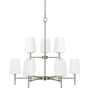 Nicollet Brushed Nickel Nine-Light Chandelier