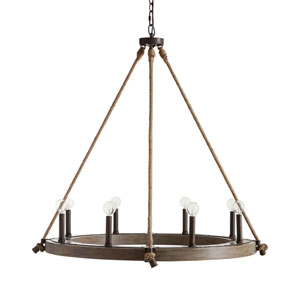 Fulton Wood Finish Eight-Light Chandelier
