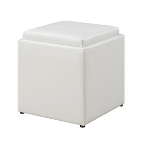 Loring White Single Ottoman with Stool