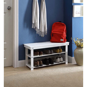 Selby White Utility Mudroom Bench