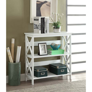 Selby White 33-inch Three Tier Bookcase