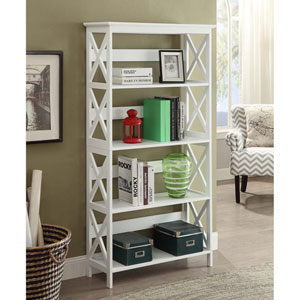 Selby White 60-inch Five Tier Bookcase
